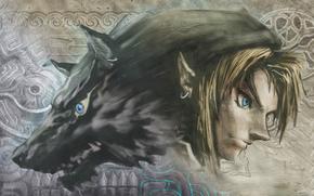 elfo, lobo, imagen, Fantasa