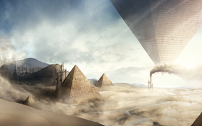 Art, pyramids, desert, sand, Storm, surrealism, plant, Pipe, smoke, to the upper legs