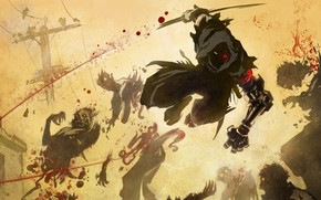 ninzdya, battle, weapon, Katana, Undead, Monsters, birds. city, lap, Wire