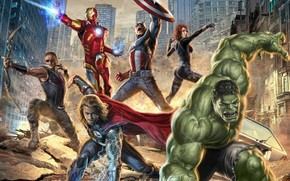 The Avengers, man of iron, Hawkeye, Captain America, The Black Widow, Top, hulk, superheroes, film, Adventures, thriller, fantasy, Art