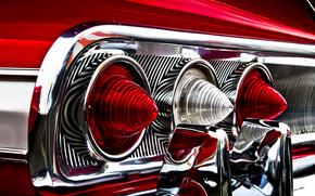 красная, фары, импала, задние огни, шевроле, хромированные детали, отражение, Chevrolet