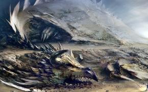 monstre, dragon, Rocks, homme