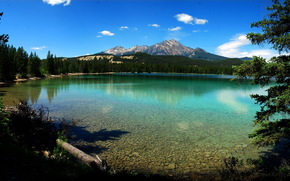 lago, acqua, Montagne, alberi, cielo