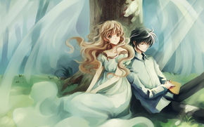 арт, аниме, девушка, парень, крылья, дерево, двое