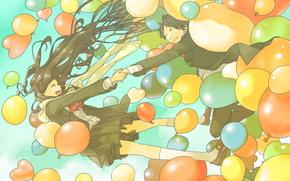 аниме, арт, девушка, парень, шарики, волосы, двое, пара, облака, небо