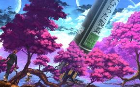 арт, двое, сакура, деревья, природа, небо, парень, девушка. аниме, корни, облака, луна