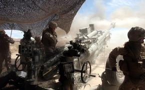 howitzer, Soldiers, war, weapon