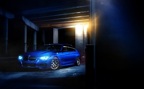 бмв, синий, тонированный, стена освещение, колоны, BMW