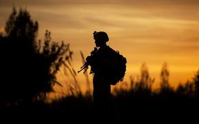 soldado, silhueta, fundo