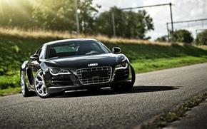 ауди, чёрная, дорога, блики, Audi