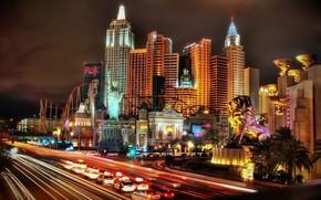 城市, 夜, 灯火