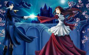 арт, парень, девушка, аниме, Ромео, Джульетта, ночь, замок, двое, небо, луна, облако, цветы