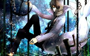 Art, guy, water, anime, chain, grass, helmet, tie
