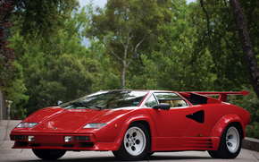red, Lambo, kountach, Trees, Lamborghini