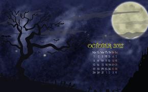 хэллоуин, октябрь, календарь, месяц, числа, ночь, луна, кладбище, дерево, рисунок, вектор