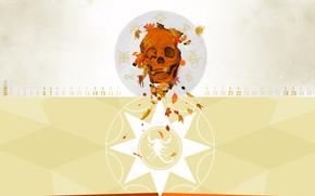 осень, октябрь, календарь, месяц, числа, череп, листья, зодиак, скорпион