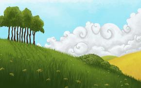 арт, рисунок, природа, холмы, деревья, поле, трава, зеленая, желтая, небо, облака, цветы