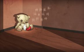 Tenha, suportar, brinquedo, enchimento, corao, ngulo, andar, parede, entalhe, abandonado, feridos, solido, tristeza, tristeza, traio