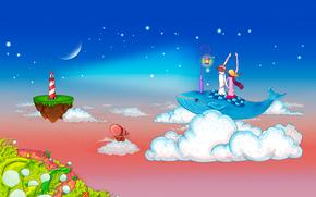 романтика, любовь, пара, парень, девушка, небо, облака, кит, фонарь, островок, маяк, вектор, рисунок