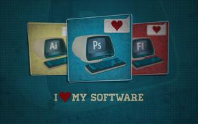 Io amo il mio software, Photoshop, editore, programma, controllare, tastiera, hi-tech