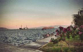 Port, wharf, pier, boat, ship, rain, sea, flower, bush