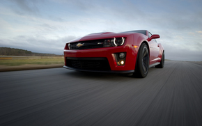 Chevrolet, Camaro, red, road, rate, sky, clouds, Chevrolet