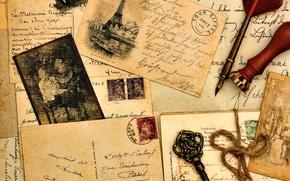 Vintage, postcard, Eiffel Tower, letters, Photos, Paper, old, print, handle, feather, key
