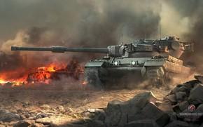 мир танков, танк, британский танк, пламя, дым, война