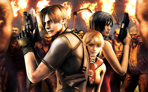 Leon Scott Kennedy, Ada Wong, Ashley Graham, Villager, Torches, weapon, Guns, Spit, pitchfork, ammunition, fire, Environment