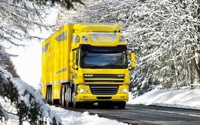 DAP, FIT, camion, carta da parati, giallo, inverno, neve, strada, Altri marchi