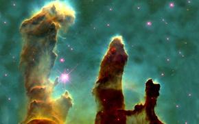 Eagle Nebula, Pillars of Creation, Star, gas cloud