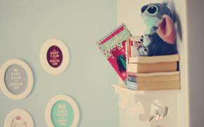 Humor, estante, Libros, juguete, imagen, animal. habitacin, fondo, Papel pintado
