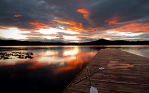 закат, озеро, мост, вёсла