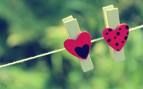 прищепки, сердце, фон, зелень, разное, настроение