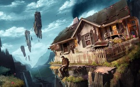 Art, muzhik, home, machine, rocks, Flying, rod, backpack