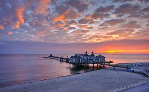 Allemagne, jete, Mer Baltique, coucher du soleil, restaurant