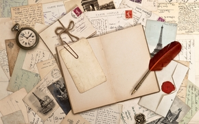 Vintage, retro, letters, book, watch, pen, Photos, key, brand