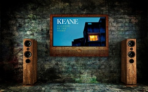keane, notte depresso, Altoparlanti, schermo, grunge, Mattone, muro, tacere Per notte, Altoparlanti, schermo, laterizi, muro