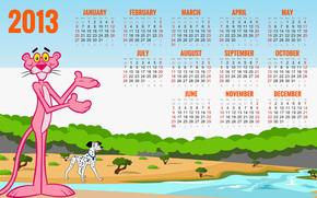 2013, calendar, pink panther, Dalmatian, Wishes, 2013, calendar, dalmatian, best wishes