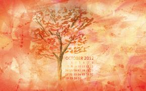 календарь, октябрь, месяц, числа, осень, дерево, красный, желтый, оранжевый