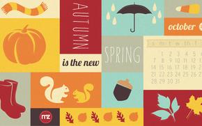 календарь, октябрь, месяц, числа, атрибуты осени, шарф, тыква, сапоги, белка, желудь, листья, зонт