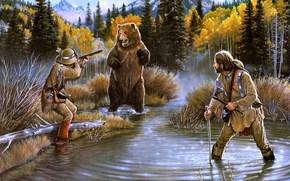 pittura, situazione, lago, baia, sopportare, cacciatori, problema, autunno, foresta