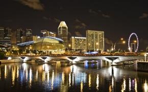 город, сингапур, ночь, река, мост, дома, отель, атракцыон.