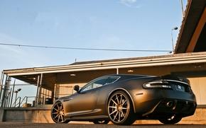Aston Martin, dBc, Black, mat, back view, building, fencing, Aston Martin