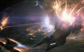 Espacio, planeta, Naves, aceleracin, llama, energa