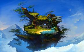 арт, фантастика, горы, остров, летающий, купание, вода, водопад, деревья, люди, ступеньки