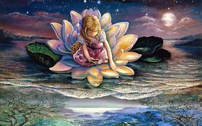 disegno, ragazza, loto, acqua, luna, Stella, pittura