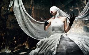 страх, ножницы, нить, ткань