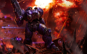 infantry weapons, armor, shots, explosion, Zerg