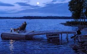 painting, night, late evening, moon, river, wharf, Fishermen, lantern, Boat